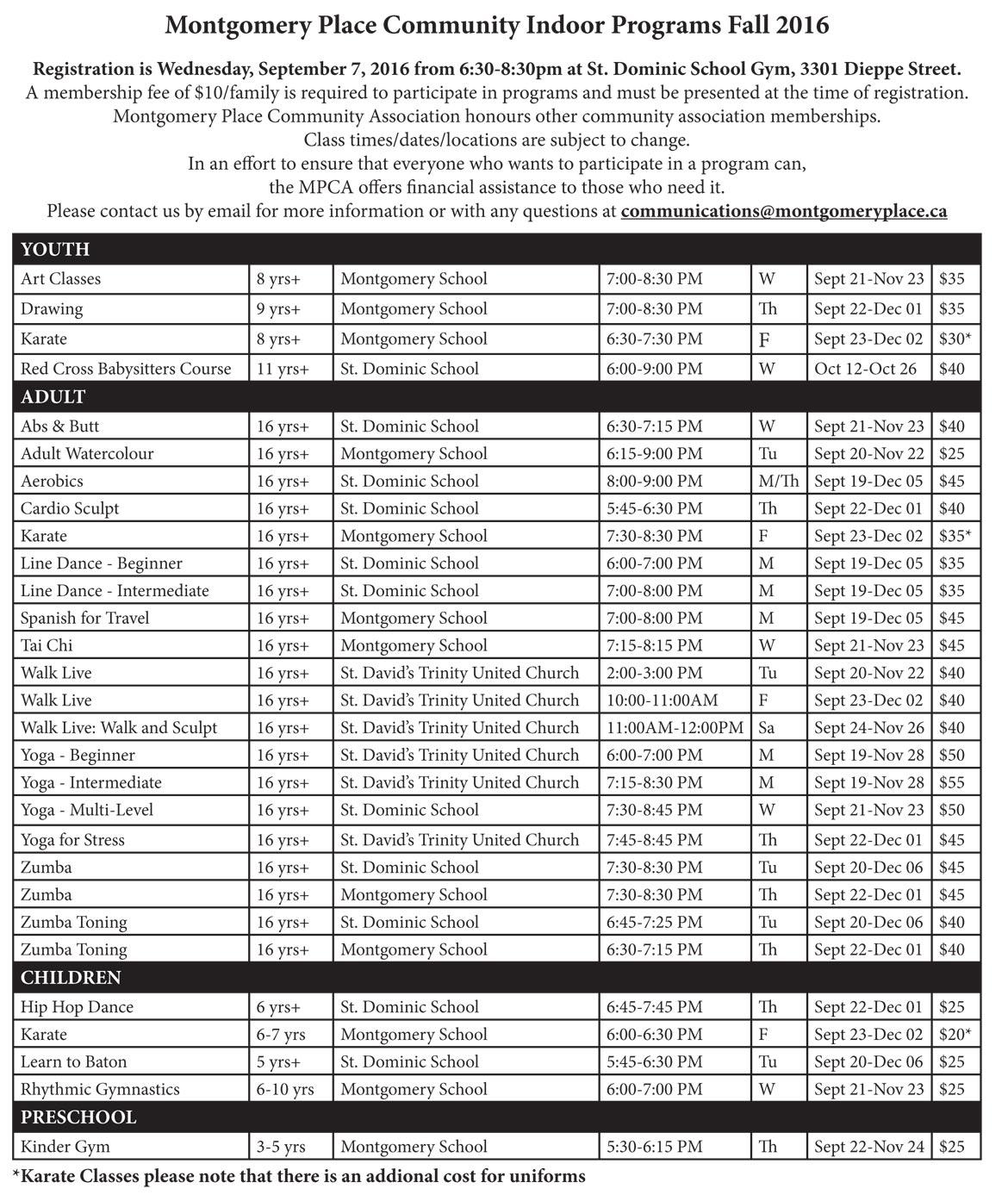 Fall Indoor Program Registration 2016 Reminder