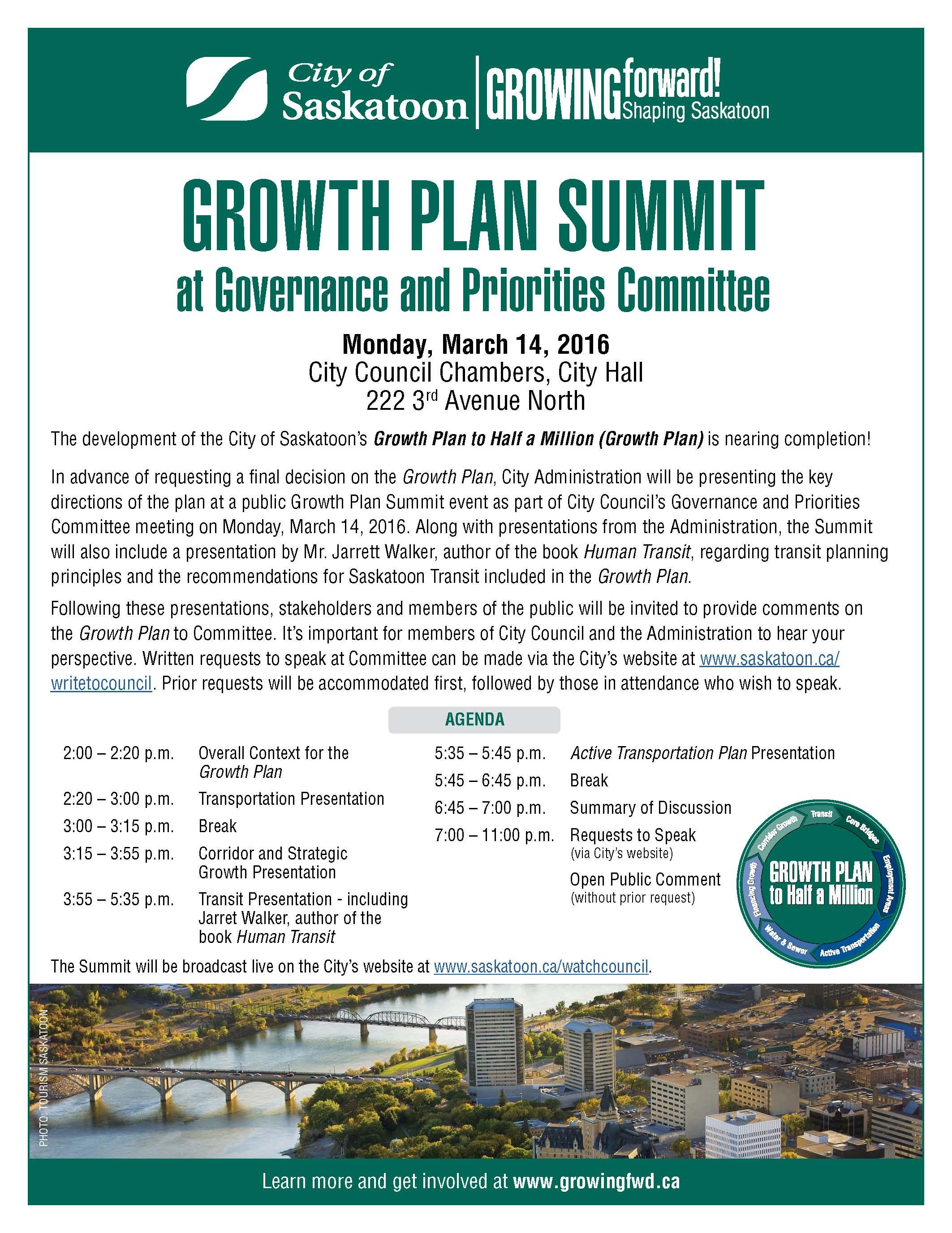Upcoming Growth Plan Summit!