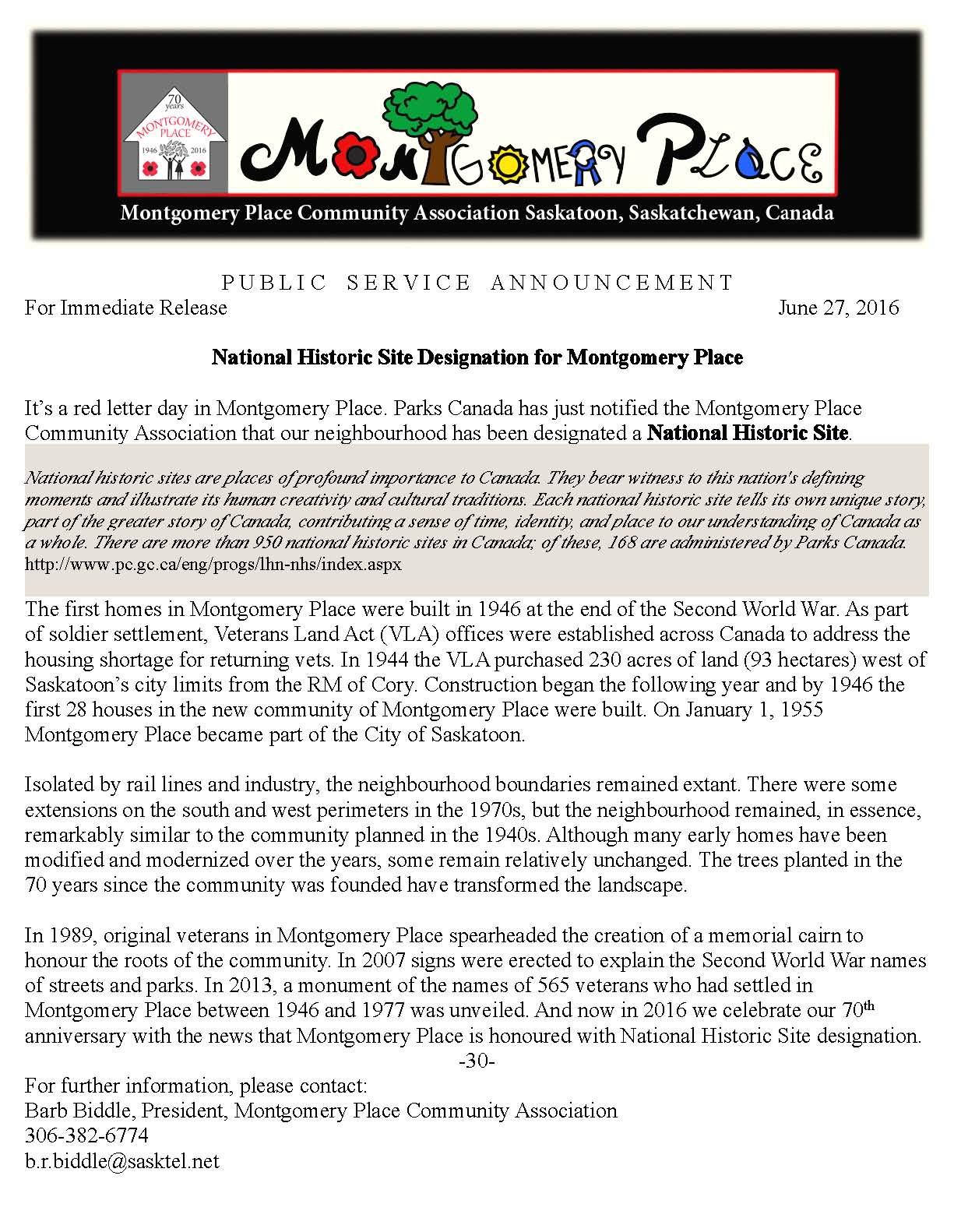 National Historic Site Designation PSA