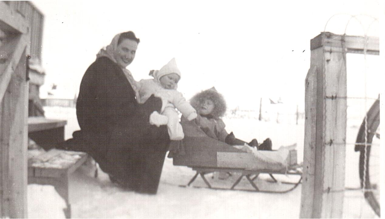 Montgomery- Dorothy-Lorraine-Lucille in sled 1949