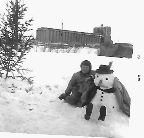 Jackie and her snowman