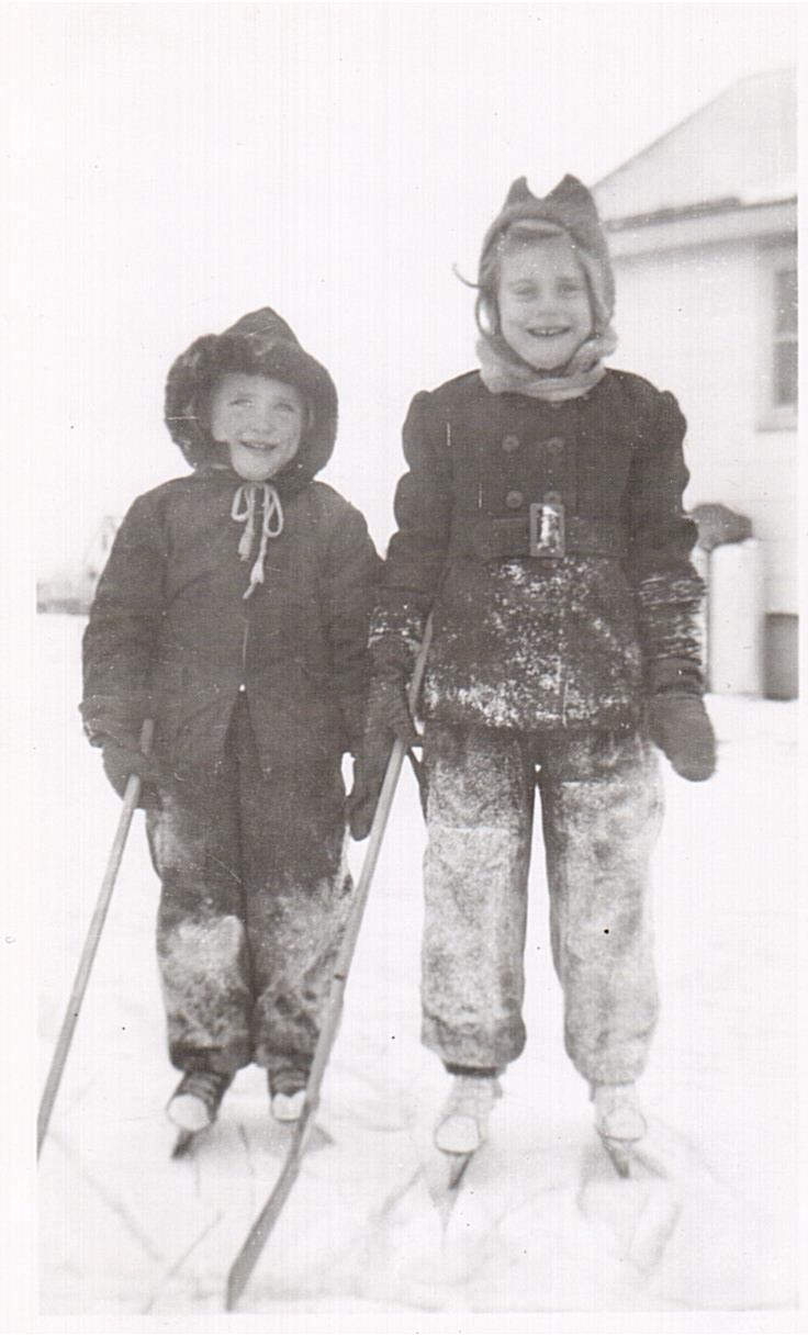 Montgomery - Lorraine and Lucille backyard rink 1954