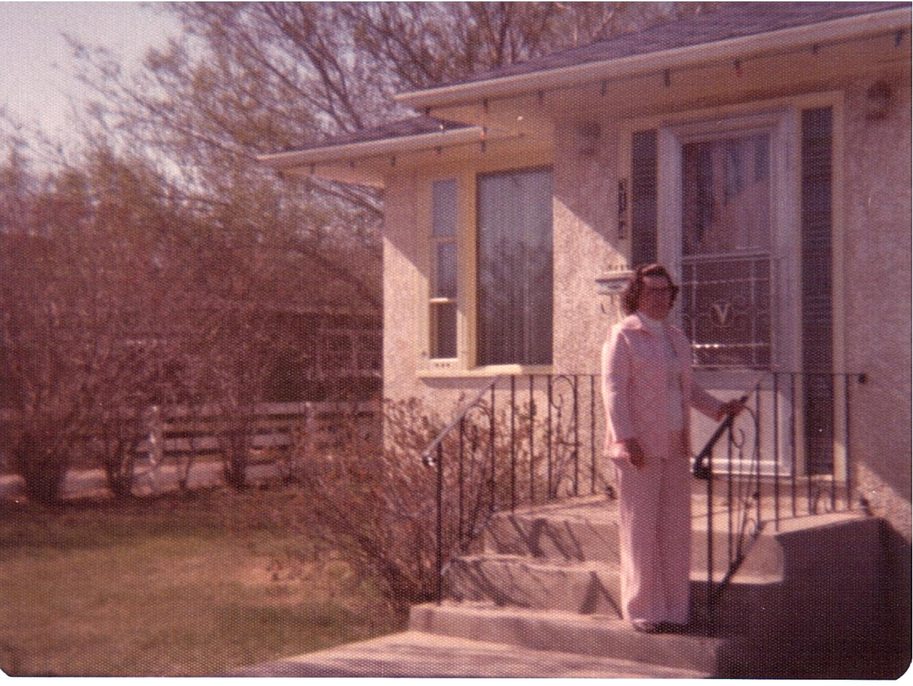 Vassey-Dorothy on steps of 3144 Dieppe St c1970